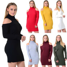 Womens Ladies Roll Neck Cold Shoulder Ribbed Knitted Bodycon Mini Dress UK 8-14