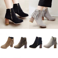 Women Lady Faux Suede Mid Block Heel Boots Tassel Zip Up Ankle Casual Shoes Size