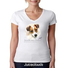 Jack Russel Terrier V-Neck Shirt Puppy Pet Rescue Dog Owner JUNIORS Tee