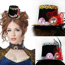 Black Victorian Steampunk Vintage Mini Top Hat Clock Sequin Trim Women Costume