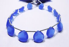 Blue Chalcedony Quartz Handmade Faceted Heart Side Drilled Briolette Beads 12mm