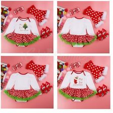 Newborn Xmas Party Costume Girl Baby Toddler Romper Dress Tutu Skirt Outfit Set