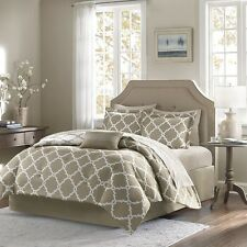 Taupe Reversible Comforter & Sheet Set with Decorative Pillow, Shams & Bed Skirt