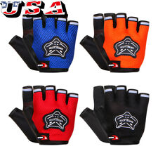 Bike Bicycle Cycling Padded Half Finger Fingerless Gloves Red/Blue/Orange/Black
