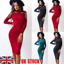 UK Womens Embroidery Floral Long Sleeve Cocktail Party Bodycon Midi Pencil Dress