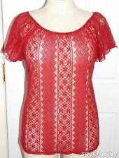 1X Sexy New Burgundy Sheer Floral Lace Boho Peasant Shirt Top Plus Torrid Bow