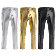 Mens Faux Leather Wetlook Party Trousers Clubwear Tight Pants Legging Costume