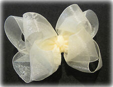 Ivory Organza Double Layered Fancy Hair Bow Girls Glamour Hairbow Wedding Cream