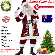 7Pcs Mens Santa Claus Suit Deluxe Father Christmas Xmas Fancy Dress Costume AU