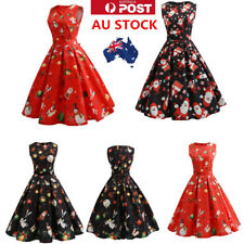 AU Womens 50s Christmas Floral Swing Dress Sleeveless Short Mini  Vintage Dress