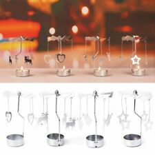 HOT Spinning Rotary Carousel Tea Light Candle Holder Stand Light Christmas  Gift