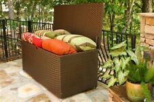 Outdoor Patio Large Wicker Lined Storage Box Sturdy Deck Poolside Dock Garden
