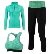 Yuerlian Quick Dry 3 pcs Yoga Sets(Jacket+Pant+Bra) Suits Fitness Gym Tracksuit