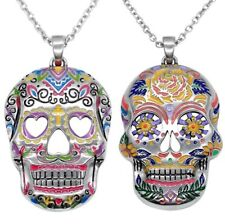 NWT Controse Stainless Steel Floral Colorful Sugar Skull Day of the Dead Pendant