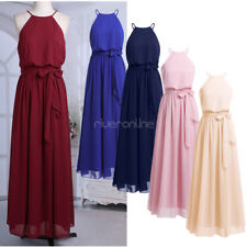 Lady Chiffon Halter Long Evening Party Ball Gown prom dress Bridesmaid Dresses
