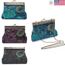 Women's Glimmer Sequins Beads Evening Party Handbag Prom Clutch Bag Bridal Purse
