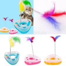 2-in-1 Triangle Cat Kitty Funny Activity Disk Feather Teaser Interactive Toy