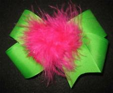 Girl Boutique Hair Bows Marabou Puff Lime Green Pink Feather Hairbows Photo Prop