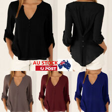 AU Women Ladies V-neck Tops Tank Loose Long Sleeve Blouse Chiffon Summer Shirts