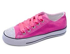 GIRLS KIDS CHILDRENS PINK CANVAS DIAMANTE LACE-UP PLIMSOLL PUMPS SHOES UK 11-3
