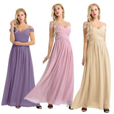 Women Girl Pleated V Neck Long Bridesmaid Dress Formal Evening Wedding Prom Gown