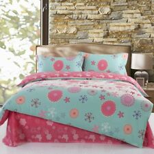 Lovely pink with cute floral patterns 4PC bed set queen size cotton