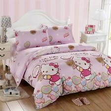 Lovely HELLO KITTY pattern 4PC bed set queen size cotton