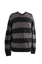 Weatherproof Charcoal Striped Cable-Knit V-Neck Sweater M