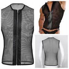 Men's Lingerie Sexy Zipper Fishnet Hollow Out Muscle Tank Top T Shirt Clubwear