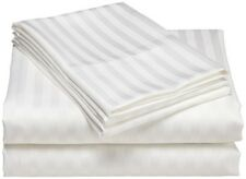 White Stripe One Fitted Sheet & Two Pillow Case 1000 TC 100% Cotton AU Size