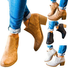 Fashion PU Leather Pointy Toe Block Mid Heels Pull On Womens Ankle Boots Shoes