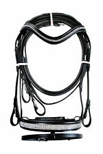Dressage leather bridle with diamonte comfort poll flash noseband black FULL&COB