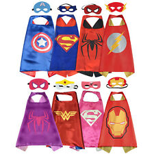 New Kids Superhero Satin Cape & Mask Dress Up Costume Birthday Gift Party Favor