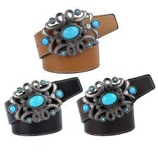 Stylish Leather Belt Unique Turquoise Gem Metal Buckle Mens Jeans Belt Strap