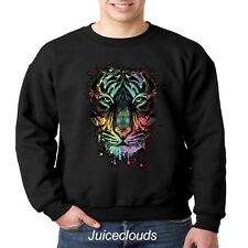 Neon Tiger Crewneck Sweatshirt Tiger Splash Big Cat Men's Shirt