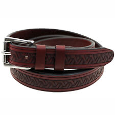 """American Made 1 1/8"""" Burgundy Latigo Embossed Leather Belt With Double Loops"""