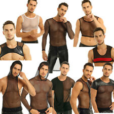 Mens Mesh Top T-Shirt Fishnet See-through GYM Muscle Tank Top Clubwear Hoodies