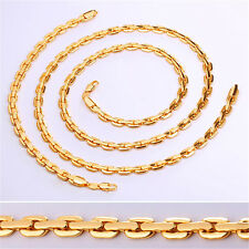 U7 6MM Cable Chain Necklace Bracelet 18K Gold Plated Fashion Men Jewelry Set