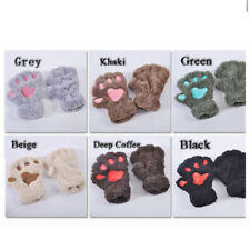 Cat Glove Mitten Furry Half Fingerless Gloves Mitts Cotton Thermal Bear's Paw
