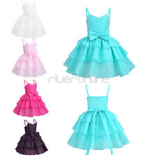NEW Baby Girl Bow Tiered Dress Princess Pageant Birthday Party Wedding Prom Gown