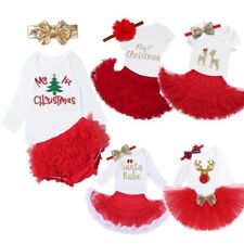 Lovely Newborn Baby Girl First Christmas Clothes Romper Skirt Headband Outfits