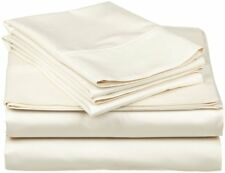 UK Sizes 4PCs Bed Sheet Set 1000 Thread Count 100% Egyptian Cotton Ivory Solid.