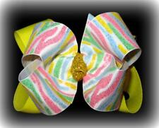 Pastel Glitter Zebra Boutique Hair Bow Double Layer Hairbow Pageant Party Yellow