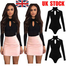 UK Women Cut Out Long Sleeve Bodysuit Stretch Leotard Top T Shirt Party Jumpsuit
