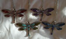 Various Crystal Enamel Dragonfly Necklace Pendant Jewelry w/ Silver Plated Chain