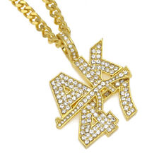 """18k Gold Plated Hip Hop Iced Out AK47 GUN Pendant 28"""" Cuban Link Chain Necklace"""