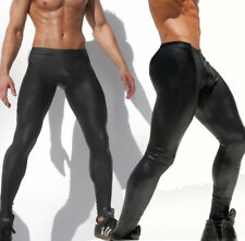 New Men's Polyester Tights PU LOW RISE Pants Faux Leather Slim Skinny Trousers