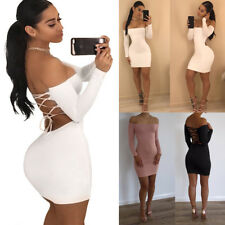 Sexy Women's Bodycon Bandage Slim Party Evening Off Shoulder Cocktail Mini Dress