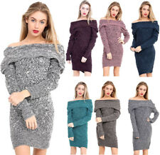 Womens Ladies Bardot Off Shoulder Cable Knitted Long Sleeve Mini Jumper Dress