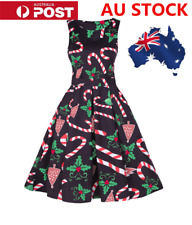 AU Womens Christmas Candy Canes Sleeveless Dress Crutches Swing Vintage Skirt